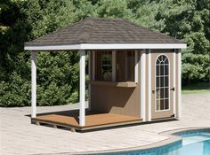 pool sheds | The Poolside Bar Includes: Your Choice Of Siding, Trim, Architectural ...