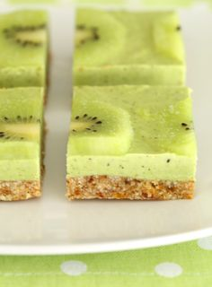 Kiwi Lime Slice - no bake Vegan slice | Kids Eat by Shanai With no refined sugars, dairy free, vegan and using spinach to give its vibrant green colour, its a healthy snack that can be eaten straight from the freezer.