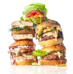Still Life, Product and Food Photography, San Francisco, Burger Stack On White | Photographer: Annabelle Breakey Photography