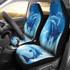 Two Dolphin Universal Fit Car Seat Covers Car Seat Cover Sets, Seat Covers, Fit Car, Car Mats, Fashion Company, Pattern Art, Car Accessories, Color Splash, Snug Fit