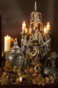 I love the reflection of candles in a room at night. With all of the beautiful white lights and candles lit , New Year's Eve is a tim. Chandelier Bougie, Chandeliers, Chandelier Lighting, Beaded Chandelier, Vintage Chandelier, Décor Antique, Christmas Decorations, Holiday Decor, Holiday Lights