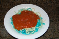 $5 Family Fun - Red, white & blue pasta & with spaghetti sauce. www.MegganSpicer.com, www.facebook.com/megganspicer, @megganspicer