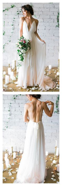 sexy wedding dresses, backless wedding dresses, long chiffon wedding dresses,beach wedding dresses #SIMIBridal #weddingdresses