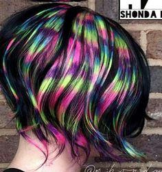 Rainbow dyed hair @embee.meche
