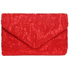 Fashion Road Evening Clutch, Womens Floral Lace Envelope Clutch... (36 PEN) ❤ liked on Polyvore featuring bags, handbags, clutches, red purse, party clutches, envelope clutch bag, evening clutches and red evening bag
