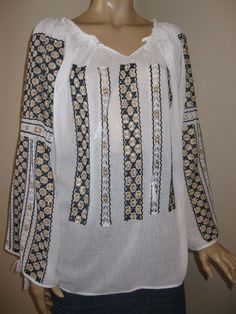 Hand Embroidered Romanian Peasant Costume Blouse Size L New Black and Golden Costumes, Traditional, Blouse, Long Sleeve, Sleeves, Sweaters, Ebay, Black, Tops