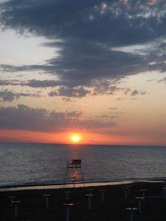 Sunset at Marina di Bibbona beach on the central Tuscan coast.