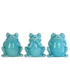 Urban Trends Collection Ceramic Gloss Finish Blue Sitting Frogs No Evil (Hear/Speak/See) Figurines Assortment of Three (Ceramic Figurine Gloss Finish Blue) Accessories Store, Decorative Accessories, Urban Trends, Light Blue Color, Shades Of White, Joss And Main, Decorative Objects, Accent Pieces, Cute Gifts