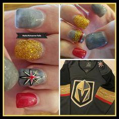 Las Vegas Golden Knights nail art. Hockey nail art