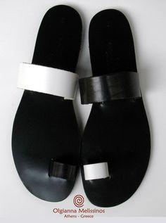 "Olgianna Melissinos sandals. Amazing Black & White ""checkers""."