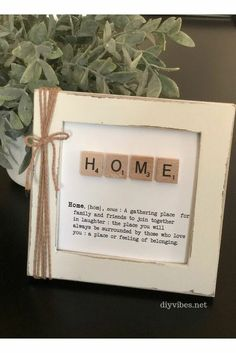 Scrabble tile framed art is easy and inexpensive to make. Customize it to make the perfect addition to your home decor. I ran across the concept of Scrabble t… Scrabble Letter Crafts, Scrabble Tile Crafts, Scrabble Letters, Scrabble Tile Wall Art, Scrabble Pieces Crafts, Diy Framed Art, Frame Crafts, Craft Frames, Box Frames