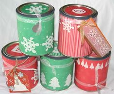 This is a project I recently completed to wrap a few of our Christmas gifts. It worked perfectly for gift cards and jewelry. Materials: Empty Paint Can (purchased at a home improvement store) Makin...