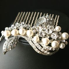 Pearl and Rhinestone Bridal Hair Comb, Crystal and Pearl Art Deco Comb, BETTE Collection -$68.00