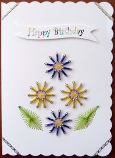 Stitched card beaded flowers