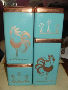 VINTAGE RANSBURG STACKING CANISTER SET TURQUOISE & COPPER ROOSTER FLOWER DESIGN  Love!!