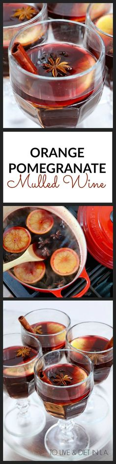 Orange Pomegranate Mulled Wine Recipe - the perfect healthy holiday cocktail! Featuring cinnamon, star anise, and fresh pomegranate.