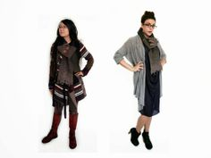 Paper People Clothing: Gorgeous in Gail - Eco Fashion -  Recycled - Wood Buttons - Reclaimed Vintage - Tencel - Scarf - Cardigan - Draped - Boots