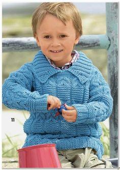 Пуловер с косами для мальчика спицами, Детский вязаный пуловер спицами   Я Хозяйка