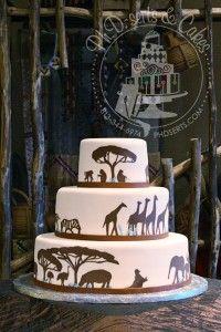 The perfect cake for a bush wedding! http://www.phdserts.com/african-safari-wedding-cake/ http://www.chelipeacock.com