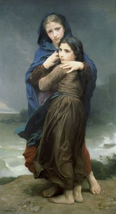 (The Storm by William Adolphe Bouguereau as fine art print. High-quality museum quality from Austrian manufactory. Stretched on canvas or printed as photo. We produce your artwork exactly like you wish. With or without painting frame. William Adolphe Bouguereau, Georges Braque, Art Magique, Pierre Auguste Renoir, Edouard Manet, Oil Painting Reproductions, Fine Art, Beautiful Paintings, Oeuvre D'art