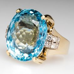 Giant Natural Aquamarine & Diamond Cocktail Ring ~ Set with a massive a 27ct natural aquamarine in solid 14k gold.
