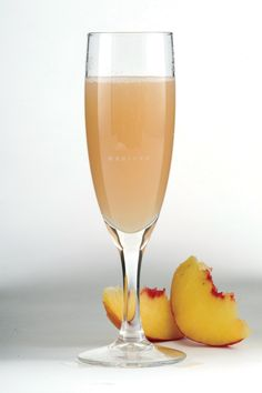 Bellini ~Serve in a champagne flute and simply add one part peach puree topped up with the sparkling wine, then mix – Bellisimo!