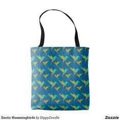 Exotic Hummingbird Pattern Decorative Summer Tote bag