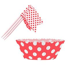 Ruby Red Decorative Dots Cupcake Decorations Kit - Pack of 24 | Partyrama.co.uk