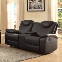 Homelegance Talbot Double Reclining Loveseat in Black Leather -- You can find out more details at the link of the image.