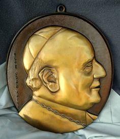 Vintage Catholic Christian Art Brass Plaque Pope John XXIII Wall Hanging 8 x 10