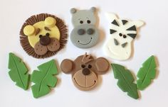 Set of 16 x edible icing Jungle Animal Zoo themed cupcake toppers by ACupfulofCake on Etsy £16.50