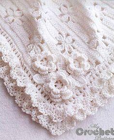 white crochet blanket for babies photo