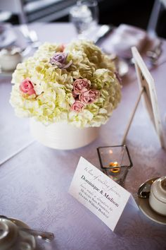 Pastel Rose & Hydrangea Centerpiece|A Swoon-Worthy Pink & Lavender June Wedding|Photographer:  Caroline Ross Photography