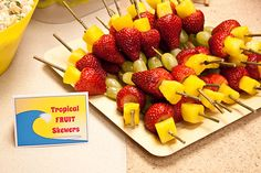 Food: Tropical Fruit Skewers  {via Piggy Bank Parties}
