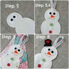 Decorar regalos de Navidad con muñeco de nieve en fieltro 2