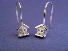 Adorable bird house earrings.
