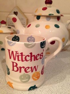 Personalised Polka Pumpkin Half Pint Mug at Emma Bridgewater Pottery Cafe, Susie Watson, Emma Bridgewater Pottery, Witch Cottage, Kitchenware, Tableware, Halloween Mug, Witches Brew, Kitchen Witch