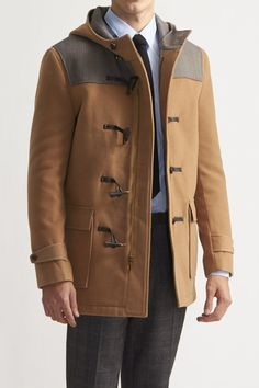 $119, Camel Duffle Coat: Paisley Gray Slim Pieced Duffle Coat. Sold by JackThreads. Click for more info: https://lookastic.com/men/shop_items/133094/redirect