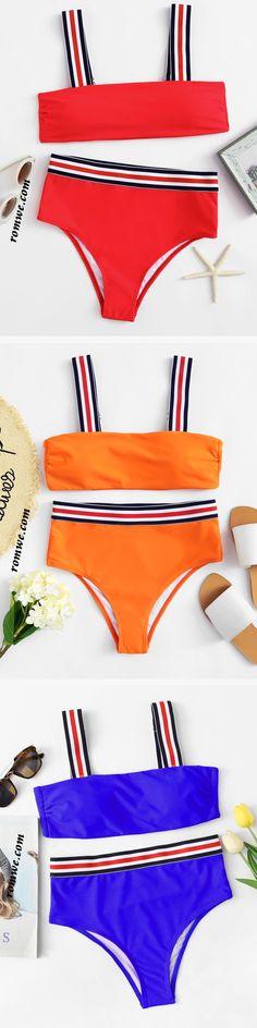 Striped Straps High Leg Bikini Set