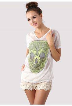 Lace Skull White T-Shirt  #Chicwish