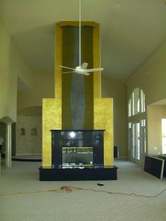 Extended Fireplace Waterfall - modern - living room - las vegas ...