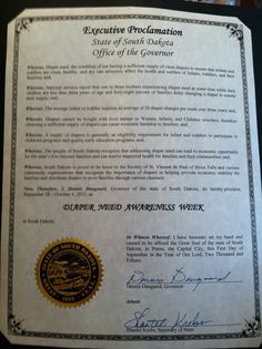 South Dakota Governor Dennis Daugaard's proclamation recognizing Diaper Need Awareness Week (Sept. 28 - Oct. 4, 2015) #DiaperNeed www.diaperneed.org