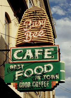 Busy Bee Cafe, Dubuque, IA | Rusty Vintage Neon Sign | Bee Hive | Retro Green, White and Gold | 1950s Kitsch | 1960s Kitschy | Vintage Signage | Roadtrip | Vintage Business
