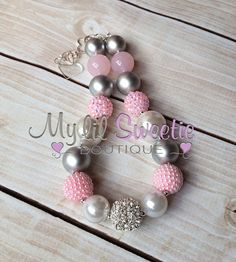 Stunning Light pink  silver gray white chunky necklace, girls jewelry, wedding jewelry, children's necklace, bubblegum necklace on Etsy, $25.00