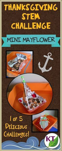"""Thanksgiving STEM challenge: build a Mini Mayflower to get from """"England"""" to """"America""""; easy to find materials and modifications for students grades 2-8. Great Thanksgiving-themed fun and rigor!"""