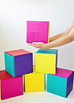How to Make DIY Giant Paper Boxes and Blocks. Easy origami project, building and surprise box for kids.