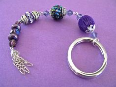 Purple Passion Rhinestone Pave and Crystal Keychain - pinned by pin4etsy.com