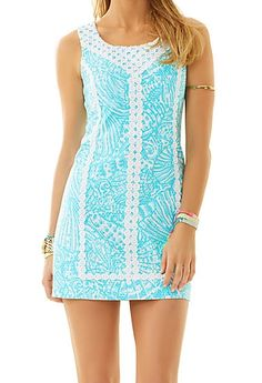 Lilly Pulitzer MacFarlane Lace Detail Shift Dress in Shorely Blue Sea Cups