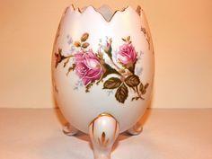 Napco Egg Vase Footed Pink Rose Porcelain VTG Moriage Gilded Transferware Decpr