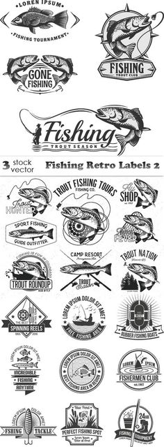Vectors - Fishing Retro Labels 2